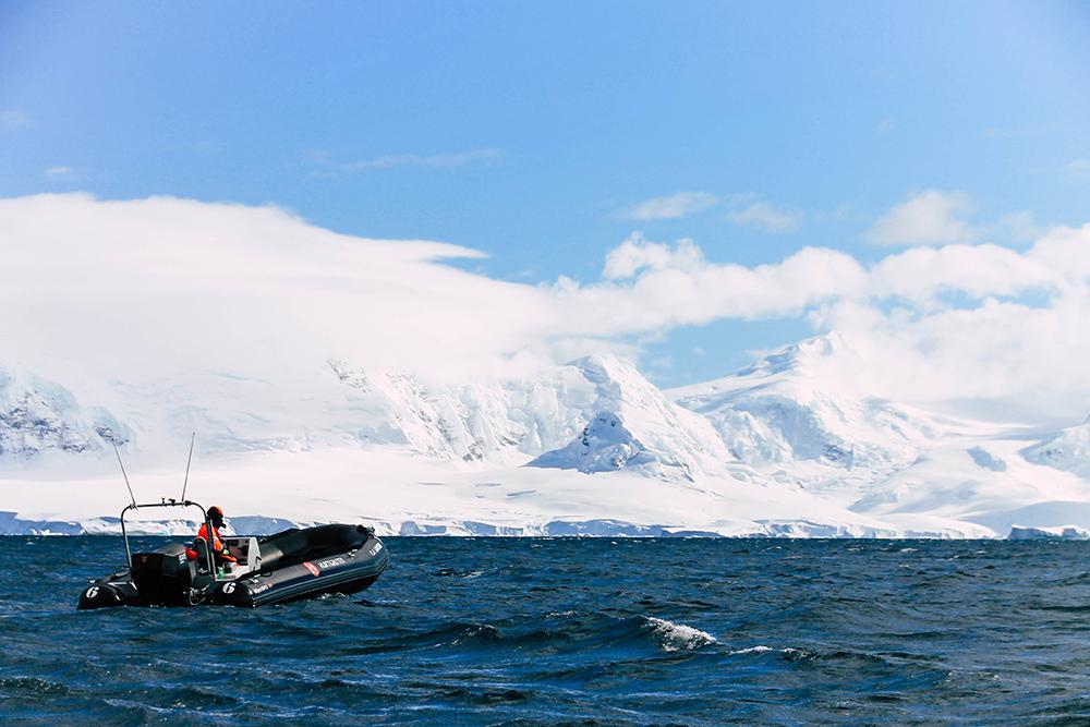 Zodiac vor weißen Bergen in der Antarktis