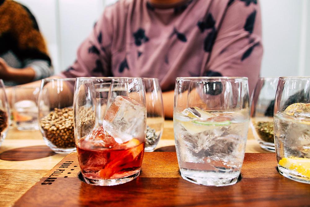 mehrere Sorten Gin beim Gin Tasting im Yarra Vallye